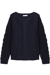 Sandro Lara Cable And Open Knit Wool Blend Sweater Blue