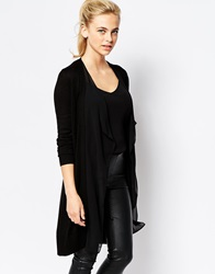 Oasis Waterfall Cardigan With Chiffon Detail Black