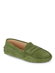 Tod's Gommini Moc Toe Leather Moccasins Green