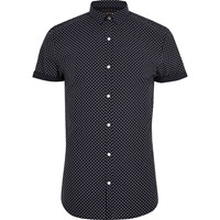 River Island Navy Polka Dot Short Sleeve Slim Fit Shirt