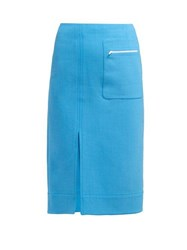 Kwaidan Editions Patch Pocket Double Faced Crepe Pencil Skirt Blue