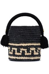 Yosuzi Woman Vane Tasseled Woven Straw Bucket Bag Black