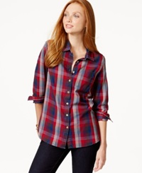 Tommy Hilfiger Plaid Print Button Down Flannel Shirt