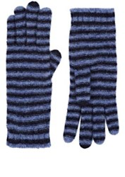 Barneys New York Women's Striped Cashmere Blend Gloves Blue