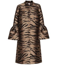 Carolina Herrera Jacquard Coat Brown