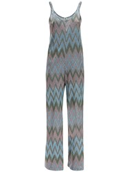 M Missoni Lurex Jersey Jumpsuit Light Blue