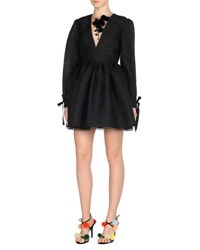 Fendi Long Sleeve Jacquard Cocktail Dress W Mink Fur Flowers Black