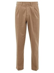 The Gigi Santiago Cotton Blend Twill Tapered Trousers Dark Beige