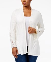 American Rag Trendy Plus Size Crochet Trim Cardigan Only At Macy's Oatmeal