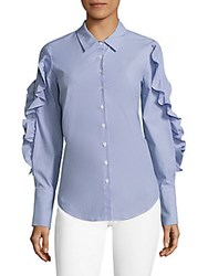 Crosley Striped Lace Up Ruffled Poplin Shirt Blue White