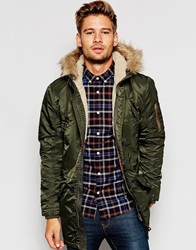 Selected Homme Snorkel Parka With Faux Fur Hood Khaki
