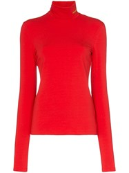 Calvin Klein 205W39nyc High Neck Fitted Jersey Top Red
