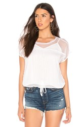 Krisa Drawstring Trim Tee White
