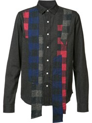 Mostly Heard Rarely Seen Plaid Longer Stripes Shirt Black