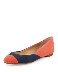 Splendid Ilia Two Tone Suede Flat Coral Navy