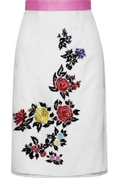 House Of Holland Heart Breakers Embroidered Silk Organza Skirt White