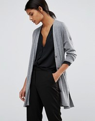 Warehouse Drawstring Waist Cardigan Grey Marl