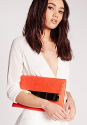 Missguided Metal Plate Clutch Bag Orange Red