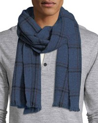 Neiman Marcus Marled Windowpane Check Cashmere Scarf Denim Black
