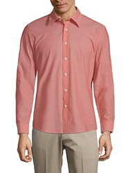 Hyden Yoo Classic Slim Fit Cotton Button Down Shirt Salmon