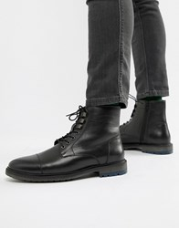 Kg By Kurt Geiger Ross Cleat Sole Toe Cap Leather Boots Black