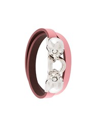 Alexander Mcqueen Wrap Around Twin Skull Bracelet Pink And Purple
