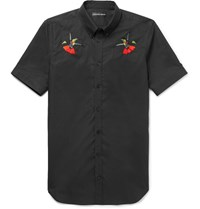 Alexander Mcqueen Slim Fit Button Down Collar Embroidered Cotton Poplin Shirt Black
