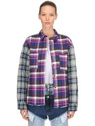 Natasha Zinko Oversized Plaid Cotton Padded Jacket Multicolor