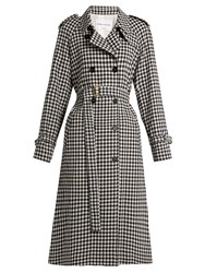 Sonia Rykiel Gingham Wool Trench Coat Black White