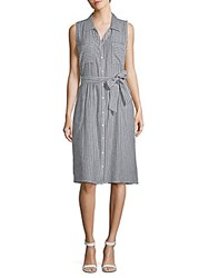August Silk Striped Chambray Sleeveless Dress Black White