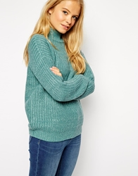 Asos Chunky Jumper In Twist Yarn With Turtle Neck Mint