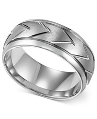 Triton Men's White Tungsten Ring 8Mm Carved Chevron Wedding Band