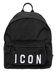 Dsquared Icon Patches Nylon Canvas Backpack Black White