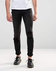 Cheap Monday Tight Skinny Jeans Forever Black Distress Repair Forever Black