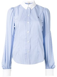 Marc Jacobs Bishop Sleeve Button Down Shirt Blue