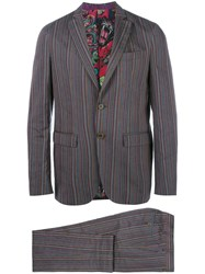 Etro Striped Two Piece Suit Pink Purple