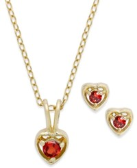 Lily Nily Children's 18K Gold Over Sterling Silver Necklace And Earrings Set January Birthstone Garnet Heart Pendant And Stud Earrings Set 1 4 Ct. T.W.