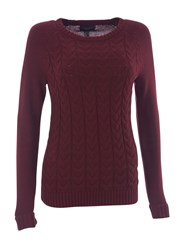 Lands' End Women S Drifter Mixed Stitch Crew Neck Merlot