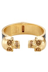 Alexander Mcqueen Embellished Skull Bangle With Leather Gold