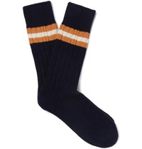 Anonymous Ism Striped Jacquard Knit Socks Navy