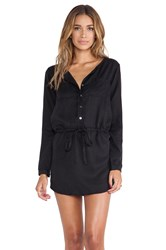 Michael Stars Button Down Shirt Dress Black