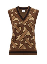 Burberry Caledon Tb Jacquard Wool Sleeveless Sweater Brown Multi