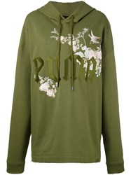 Puma Fenty Embroidered Graphic Hoodie Women Cotton S Green