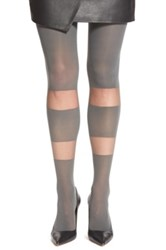 Elie Tahari Opaque Block Pattern Control Top Tights Gray