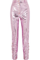 Hillier Bartley Glam Metallic Crinkled Coated Leather Straight Leg Pants Pink