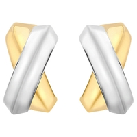 Ibb 9Ct Gold Crossover Kiss Stud Earrings Gold
