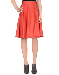 Betty Blue Knee Length Skirts Coral