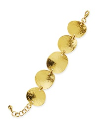Jose And Maria Barrera Gold Plated Hammered Disc Bracelet