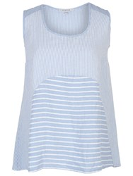 Chesca Mixed Stripe Linen Cami Sky Blue