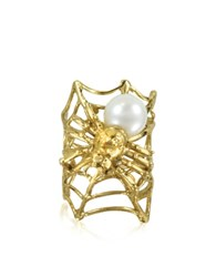 Bernard Delettrez Web And Spyder Bronze Ring W Pearl Gold